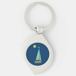 Sailing Boat Art Twisted Metal Key Chain Silver-Colored Swirl Key Ring