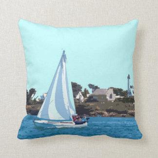 Sailing Boat At Sea Throw Pillow