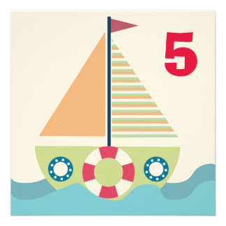 Sailing Boat Boys Number Birthday Party Invite