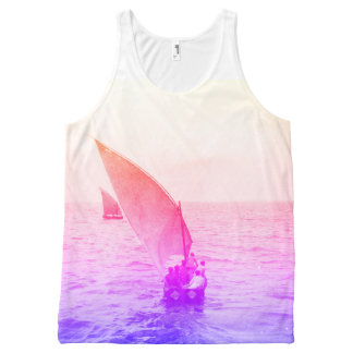 Sailing Boat Colourful Vintage Photo Beachwear All-Over Print Tank Top