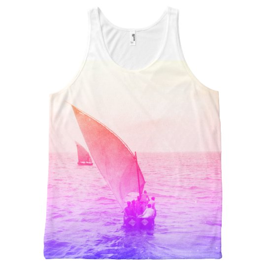 Sailing Boat Colourful Vintage Photo Beachwear All-Over Print
