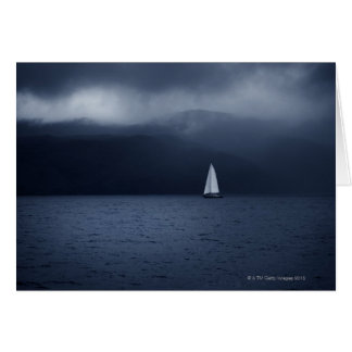 Sailing boat in stormy weather in Scottish Greeting Card