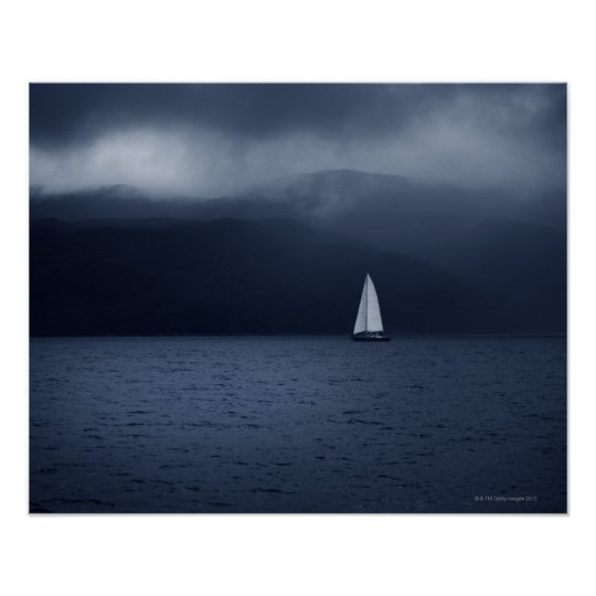 Sailing boat in stormy weather in Scottish Poster