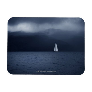 Sailing boat in stormy weather in Scottish Rectangular Photo Magnet
