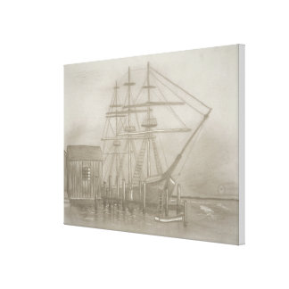 Sailing boat in the fog canvas print