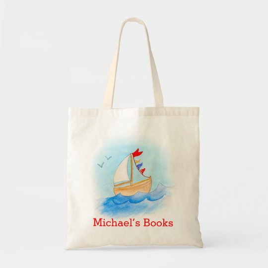 Sailing boat kids named id library tote bag