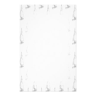 Sailing Boat Pattern. Black and White. Stationery