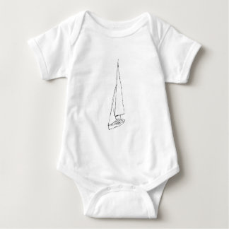Sailing boat. Sketch in Black and White. Baby Bodysuit