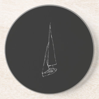 Sailing boat. Sketch in Black and White. Coaster