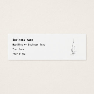 Sailing boat. Sketch in Black and White. Mini Business Card