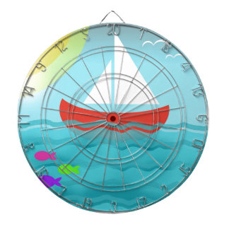 Sailing Boat Summer Sea Cartoon Summer Blue Bright Dartboard