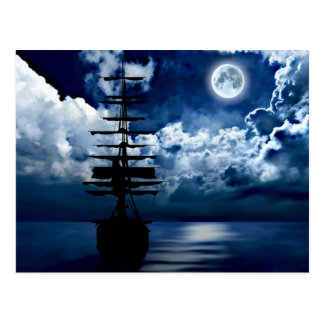 Sailing boat with full moon postcard