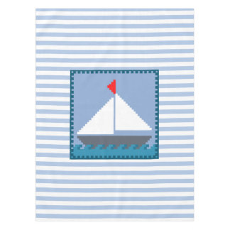 Sailing Boat With White and Blue Stripes Tablecloth
