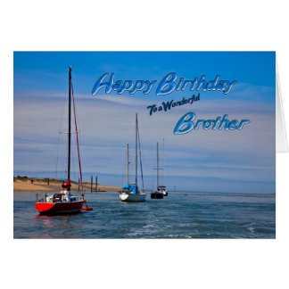 Sailing boats at anchor birthday card for Brother