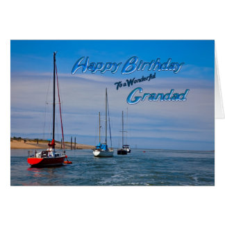 Sailing boats at anchor birthday card for Grandad
