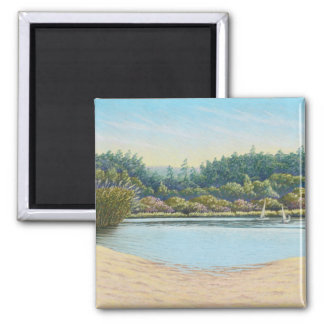 Sailing Boats at Frensham Ponds, Surrey in Pastel Magnet