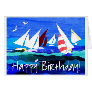 'Sailing Boats' Birthday Card