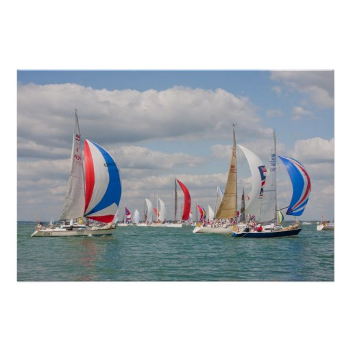 Sailing boats during Cowes Week in England UK Poster