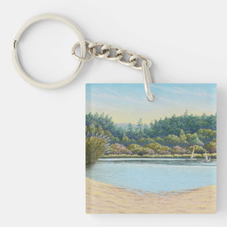 Sailing Boats, Frensham Ponds Acrylic Key Ring Double-Sided Square Acrylic Key Ring