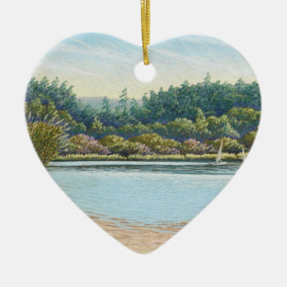 Sailing Boats, Frensham Ponds Happy Birthday Heart Christmas Ornament