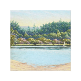 Sailing Boats, Frensham Ponds, Surrey in Pastel Canvas Print