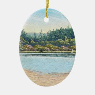 Sailing Boats, Frensham Ponds, Surrey in Pastel Ceramic Oval Decoration