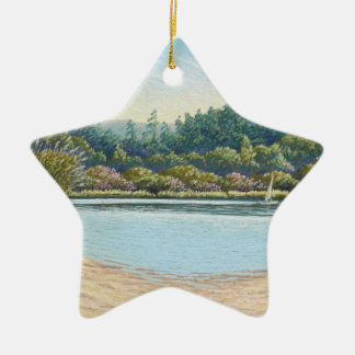 Sailing Boats, Frensham Ponds, Surrey in Pastel Christmas Ornament