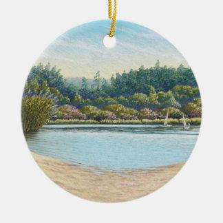 Sailing Boats, Frensham Ponds, Surrey in Pastel Christmas Ornament