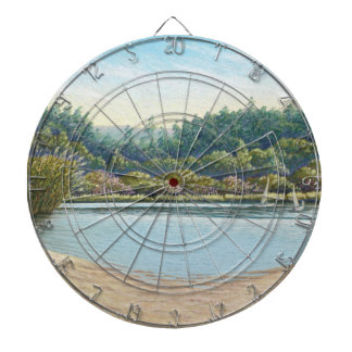 Sailing Boats, Frensham Ponds, Surrey in Pastel Dartboard