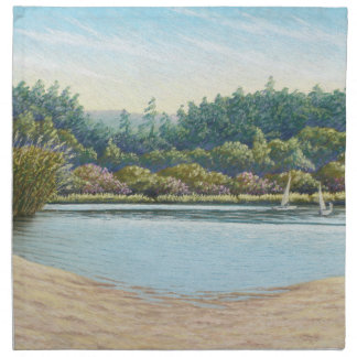 Sailing Boats, Frensham Ponds, Surrey in Pastel Napkin