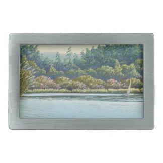 Sailing Boats, Frensham Ponds, Surrey in Pastel Rectangular Belt Buckles