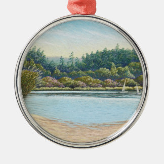 Sailing Boats, Frensham Ponds, Surrey in Pastel Silver-Colored Round Decoration