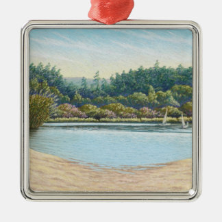 Sailing Boats, Frensham Ponds, Surrey in Pastel Silver-Colored Square Decoration