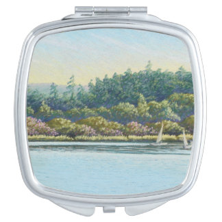 Sailing Boats, Frensham Ponds, Surrey in Pastel Vanity Mirror