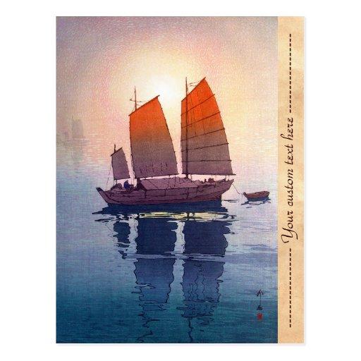 Sailing Boats Morning Hiroshi Yoshida shin hanga Post Cards