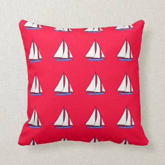 sailing boats red  blue two sided pillow cushion