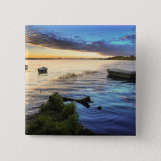 Sailing Boats Reflection From The Sunset 15 Cm Square Badge
