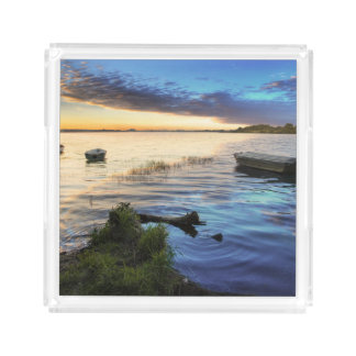 Sailing Boats Reflection From The Sunset Acrylic Tray