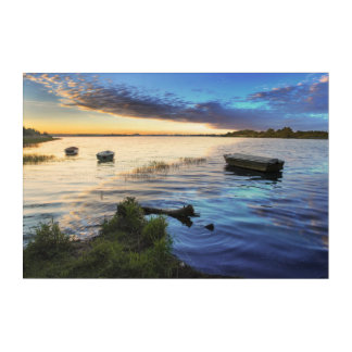 Sailing Boats Reflection From The Sunset Acrylic Wall Art