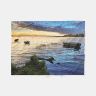 Sailing Boats Reflection From The Sunset Fleece Blanket