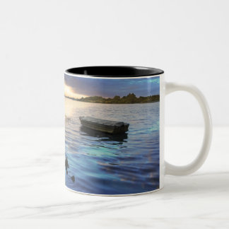 Sailing Boats Reflection From The Sunset Two-Tone Coffee Mug