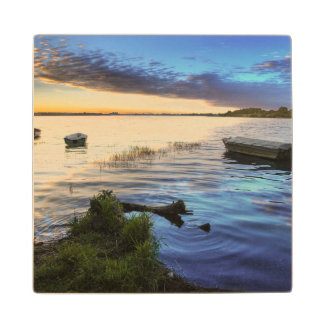Sailing Boats Reflection From The Sunset Wood Coaster