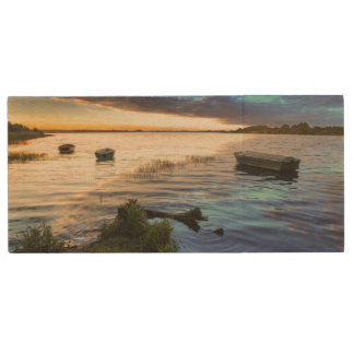 Sailing Boats Reflection From The Sunset Wood USB Flash Drive