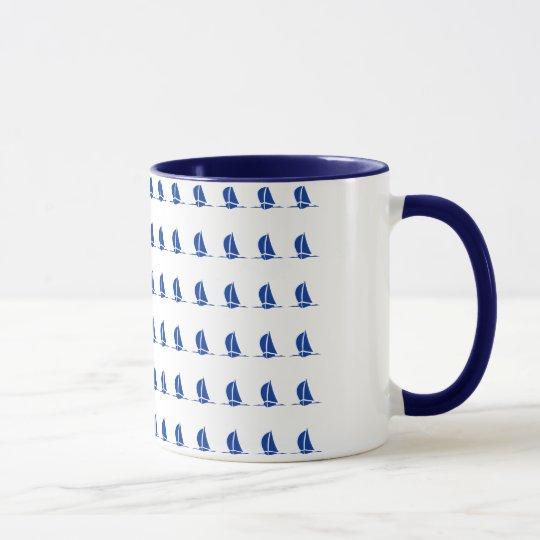 Sailing Boats Ringer Coffee Mug