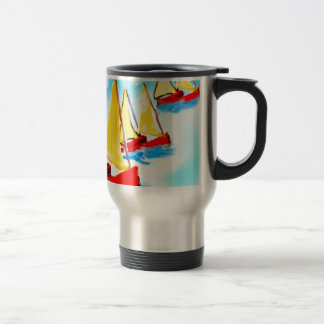 Sailing boats stainless steel travel mug