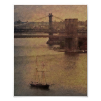 Sailing by the Brooklyn Bridge Poster