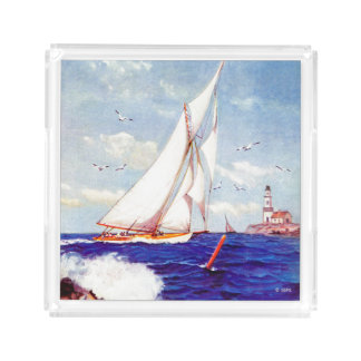 Sailing By The Lighthouse by Albert B. Marks Acrylic Tray