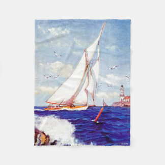 Sailing By The Lighthouse by Albert B. Marks Fleece Blanket