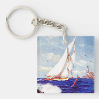 Sailing By The Lighthouse by Albert B. Marks Key Ring