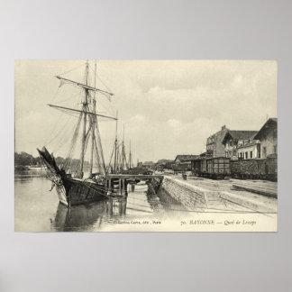 Sailing cargo ships, Bayonne, France Print